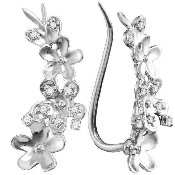 10K White Gold Round Diamond Floral Climber Earrings 1/10 Cttw - Gold Americas