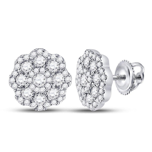 14K White Gold Round Diamond Cluster Screwback Earrings 3/4 Cttw - Gold Americas