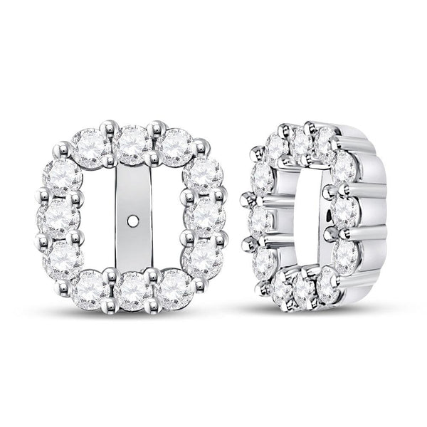 14K White Gold Round Diamond Square Frame Jacket Earrings Enhancer 3/4 Cttw