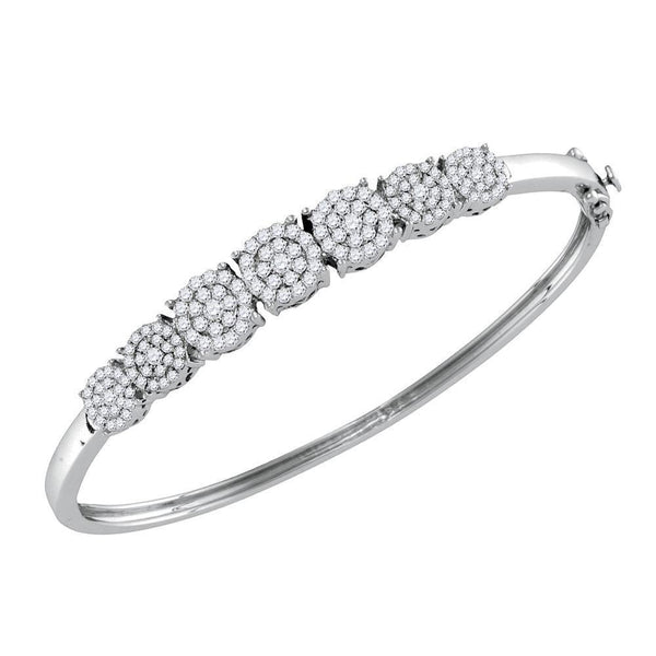 10K White Gold Diamond Concentric Cluster Bangle Bracelet 1-1/4 Cttw - Gold Americas