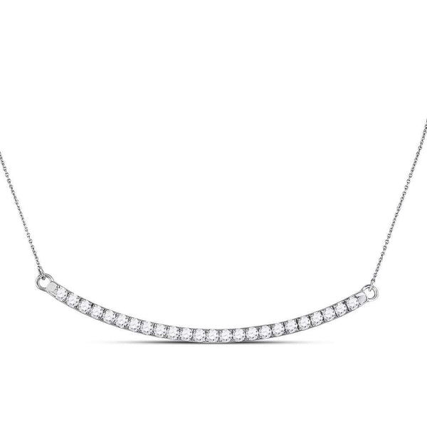 14K White Gold Womens Round Diamond Curved Single Row Bar Necklace 1.00 Cttw