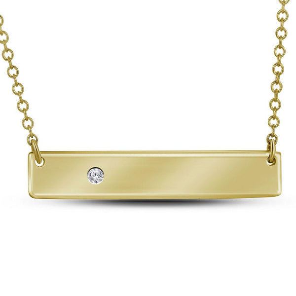 10K Yellow Gold Womens Round Diamond Rectangle Bar Necklace .02 Cttw