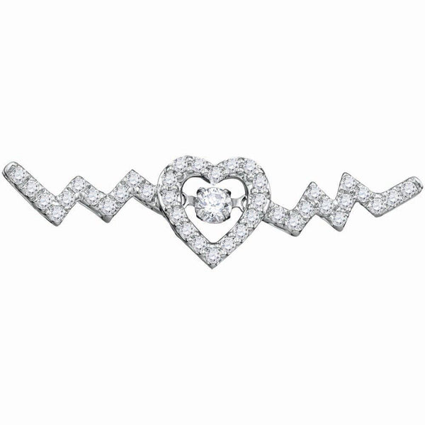 10K White Gold Womens Round Diamond Twinkle Moving Solitaire Heartbeat Heart Necklace 1/3 Cttw