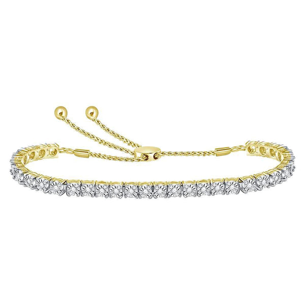 10K Yellow Gold Diamond Studded Bolo Bracelet 1/2 Cttw