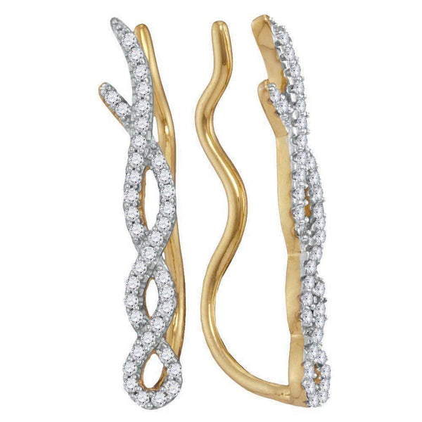 10K Yellow Gold Round Diamond Twist Woven Climber Earrings 1/4 Cttw - Gold Americas