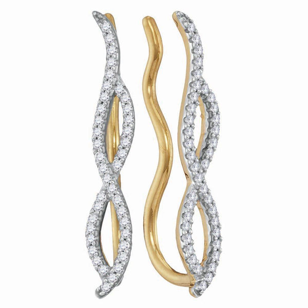 10K Yellow Gold Round Diamond Infinity Climber Earrings 1/4 Cttw - Gold Americas