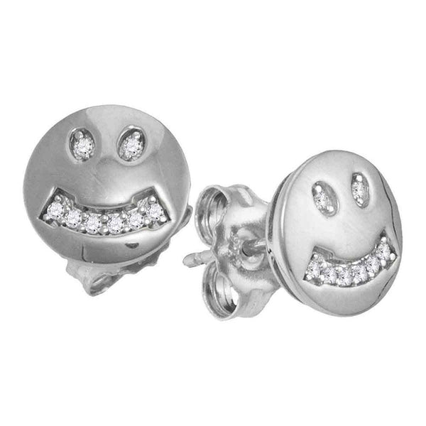 10K White Gold Round Diamond Smiley Face Screwback Earrings 1/20 Cttw