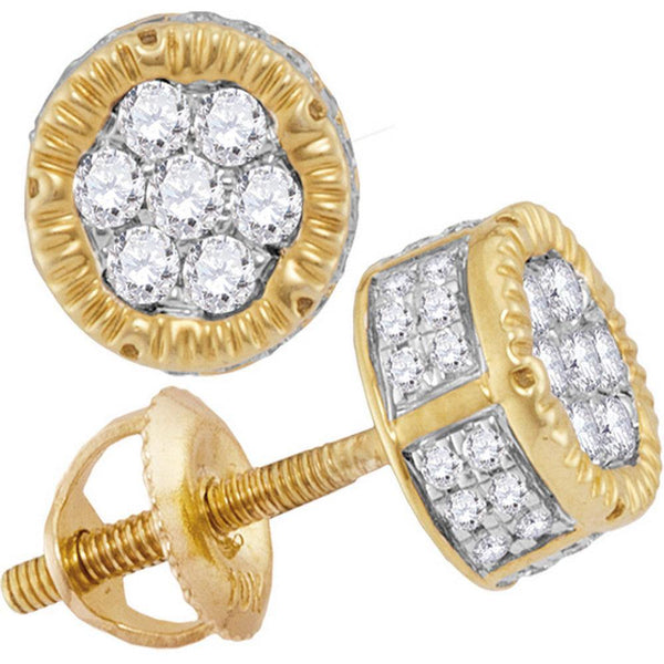 10K Yellow Gold Mens Round Diamond 3D Circle Cluster Stud Earrings 1/2 Cttw - Gold Americas
