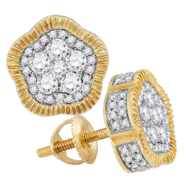 10K Yellow Gold Mens Round Diamond Fluted Star Cluster Stud Earrings 3/4 Cttw - Gold Americas