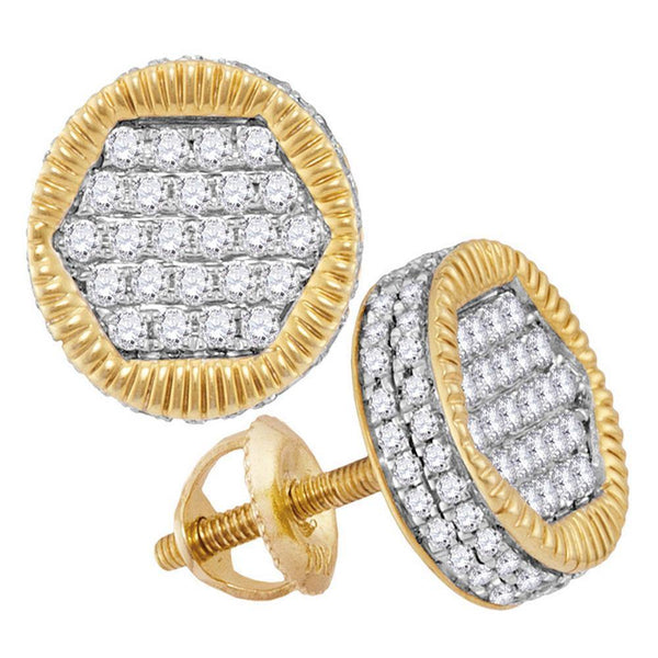 10K Yellow Gold Mens Round Diamond 3D Circle Cluster Stud Earrings 3/4 Cttw - Gold Americas