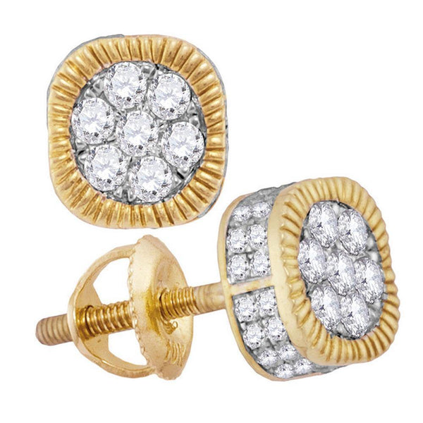 10K Yellow Gold Mens Round Diamond Fluted Flower Cluster Earrings 1.00 Cttw - Gold Americas