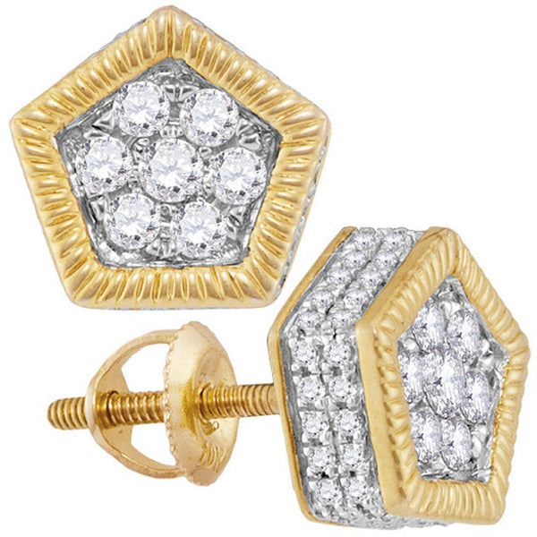 10K Yellow Gold Mens Round Diamond Polygon Fluted Cluster Stud Earrings 7/8 Cttw - Gold Americas