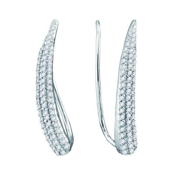 10K White Gold Round Diamond Tapered Climber Earrings 1/3 Cttw - Gold Americas