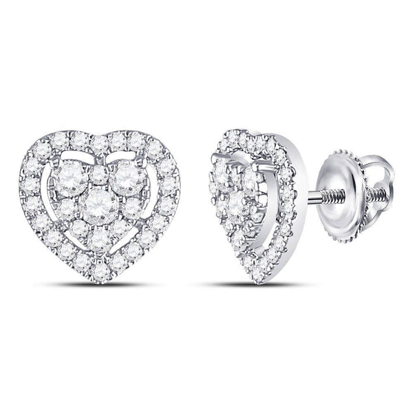 10K White Gold Round Diamond Heart Cluster Earrings 3/4 Cttw - Gold Americas