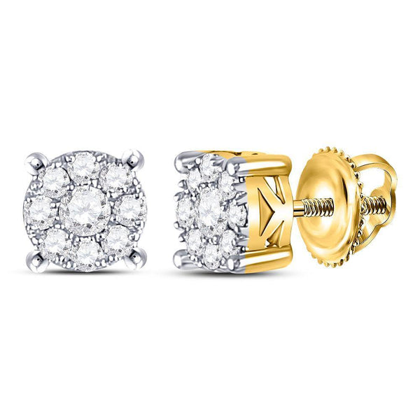 10K White Gold Round Diamond Cluster Solitaire Stud Earrings 1/2 Cttw - Gold Americas