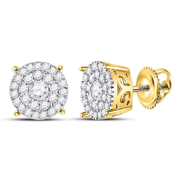 10K Yellow Gold Round Diamond Concentric Circle Cluster Earrings 3/8 Cttw - Gold Americas