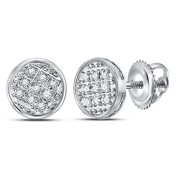 10K White Gold Mens Round Diamond Circle Cluster Stud Earrings 1/20 Cttw - Gold Americas