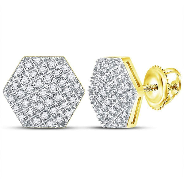 10K Yellow Gold Mens Round Diamond Hexagon Cluster Stud Earrings 1/5 Cttw - Gold Americas
