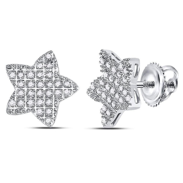 10K White Gold Mens Round Diamond Star Cluster Earrings 1/6 Cttw - Gold Americas