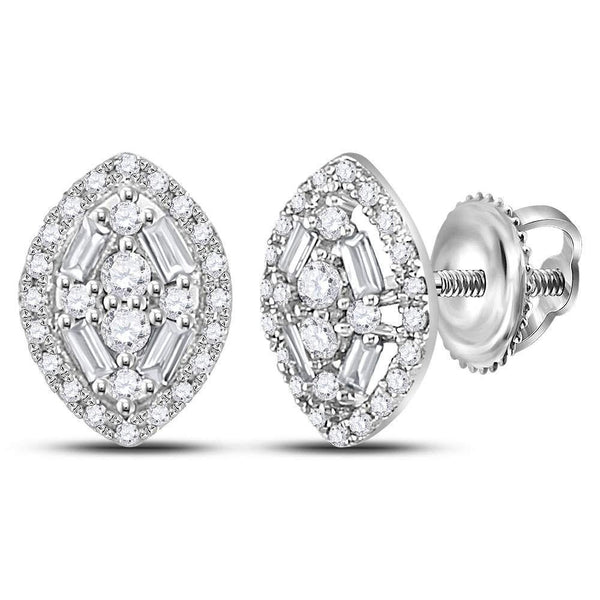 14K White Gold Round Baguette Diamond Oval Cluster Earrings 1/3 Cttw - Gold Americas