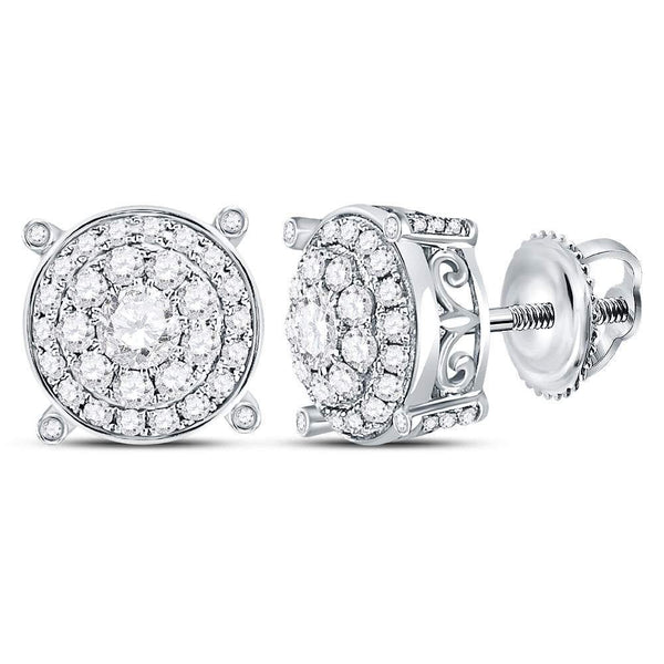 14K White Gold Round Diamond Concentric Circle Cluster Earrings 1.00 Cttw - Gold Americas