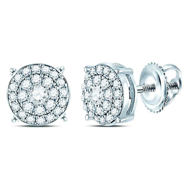 14K White Gold Round Diamond Concentric Circle Cluster Earrings 1/4 Cttw - Gold Americas