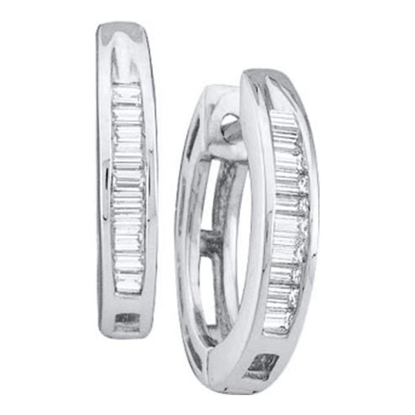 14K White Gold Baguette Diamond Huggie Earrings 1/6 Cttw - Gold Americas