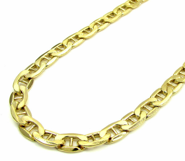 10K Yellow Gold Flat Mariner Chain 9MM