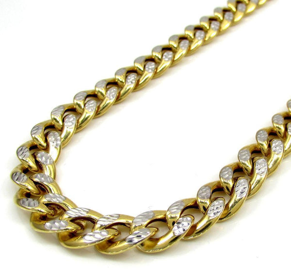 14K Yellow Gold Pave Cuban Chain 9.5MM