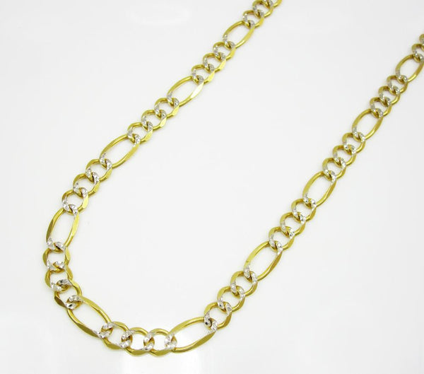 10K Yellow Gold Hollow Pave Figaro Chain 4.5MM