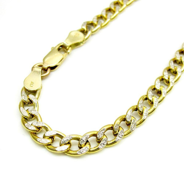10K Yellow Gold Pave Cuban Chain 7MM