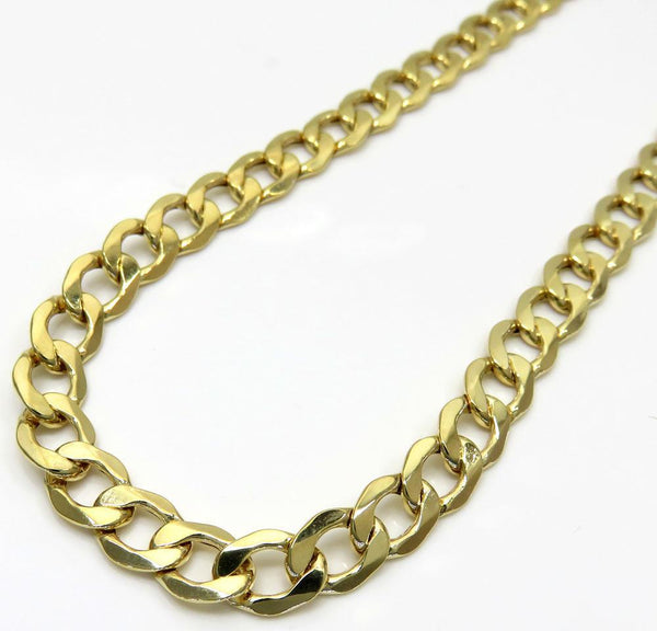 10K Yellow Gold Hollow Cuban Chain 7.5MM