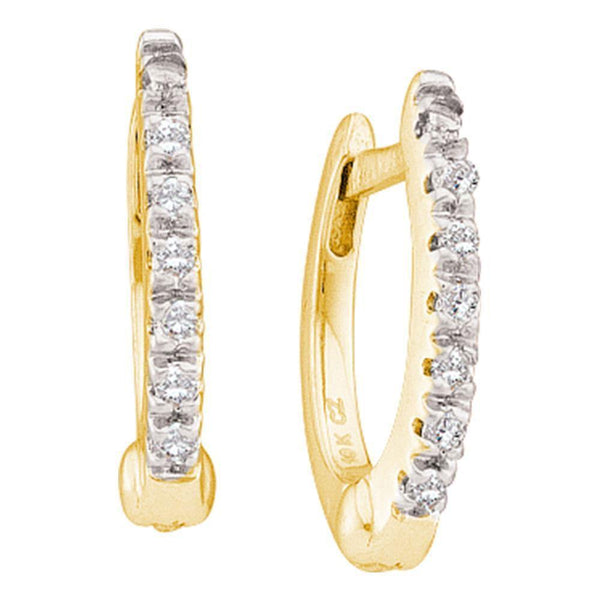10K Yellow Gold Round Prong-set Diamond Single Row Hoop Earrings 1/12 Cttw - Gold Americas