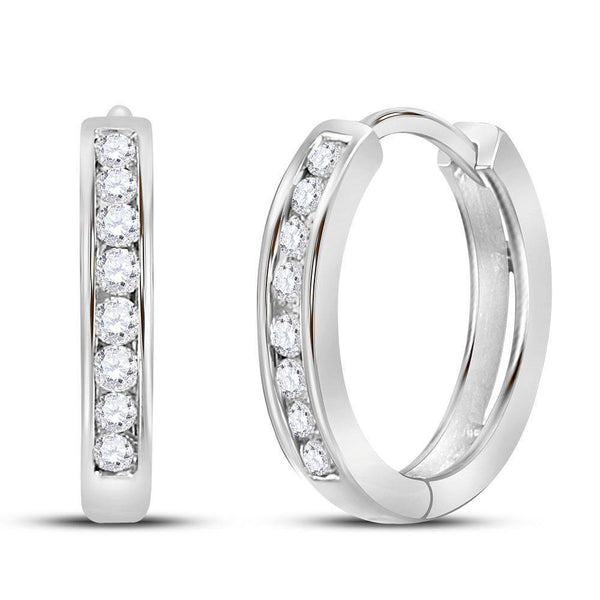 14K White Gold Round Diamond Hoop Earrings 1/4 Cttw - Gold Americas