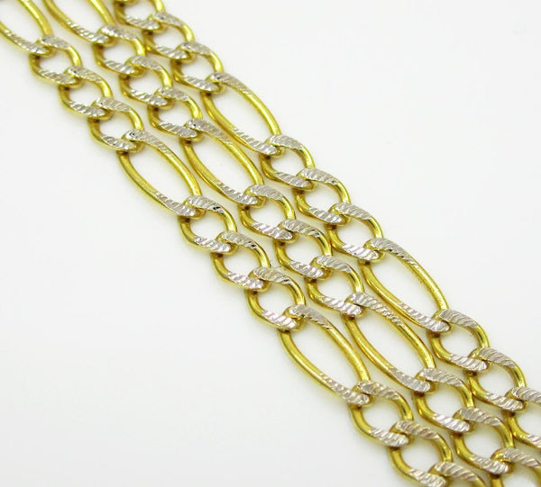14K Yellow Gold Hollow Pave Figaro Chain 2.5MM