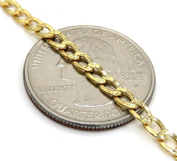 14K Yellow Gold Pave Cuban Chain 3MM