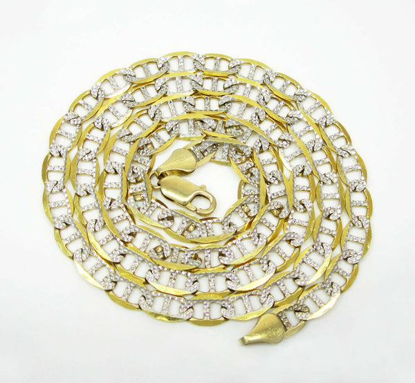 10K Yellow Gold Pave Mariner Chain 7.5MM
