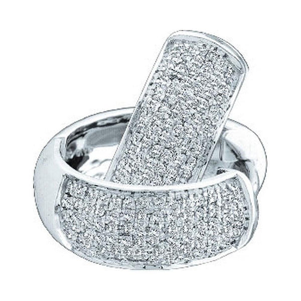 14K White Gold Round Pave-set Diamond Huggie Hoop Earrings 1/2 Cttw - Gold Americas