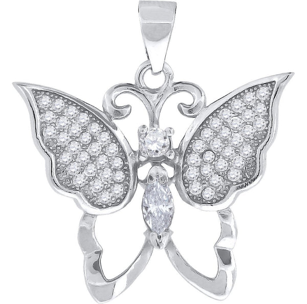 Round Cubic Zirconia CZ Butterfly Pendant