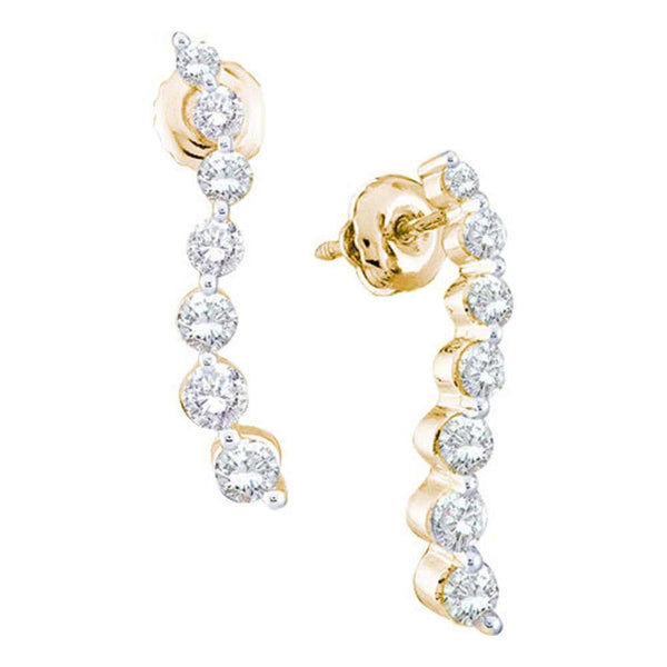 14K Yellow Gold Round Diamond Graduated Journey Stud Earrings 1.00 Cttw - Gold Americas