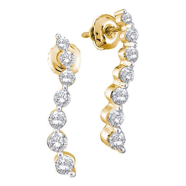 14K Yellow Gold Round Diamond Graduated Journey Screwback Earrings 1/2 Cttw - Gold Americas