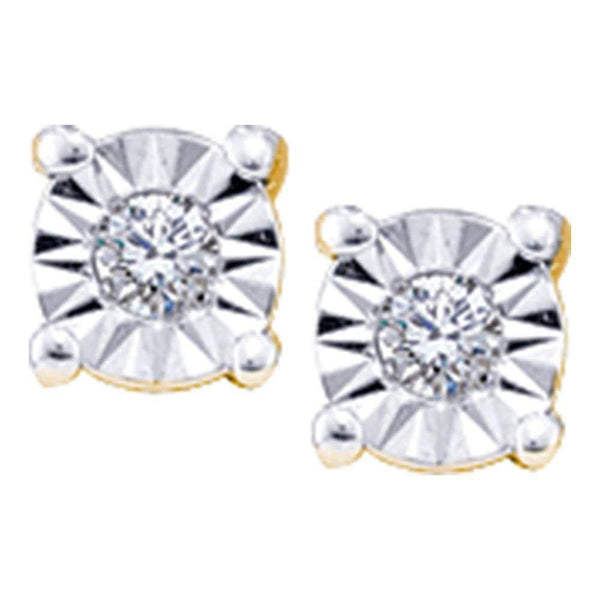 14K Yellow Gold Round Illusion-set Diamond Solitaire Screwback Earrings 1/20 Cttw - Gold Americas