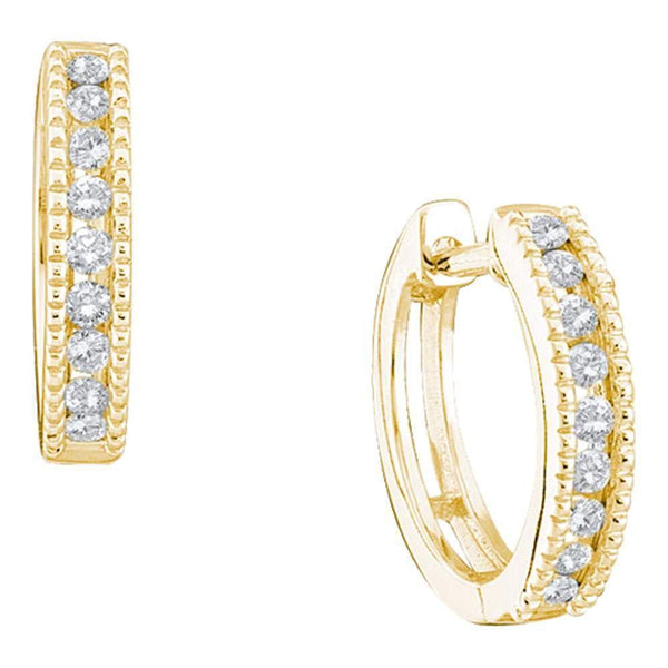 10k Yellow Gold Round Channel-set Diamond Simple Milgrain-accent Hoop Earrings 1/4 Cttw - Gold Americas