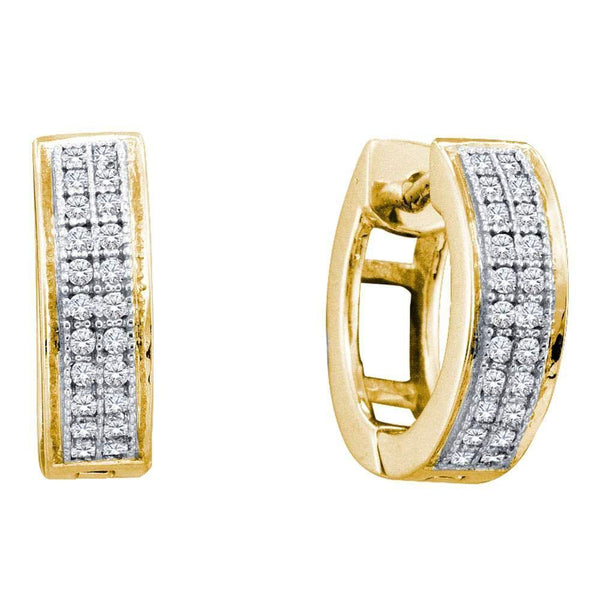 10K Yellow Gold Round Diamond Double Row Huggie Hoop Earrings 1/6 Cttw - Gold Americas