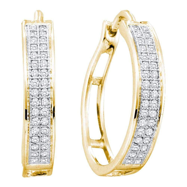 10K Yellow Gold Round Diamond Hoop Earrings 1/5 Cttw - Gold Americas