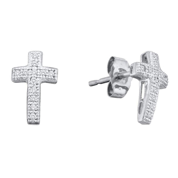 10K White Gold Round Diamond Cross Cluster Earrings 1/10 Cttw - Gold Americas