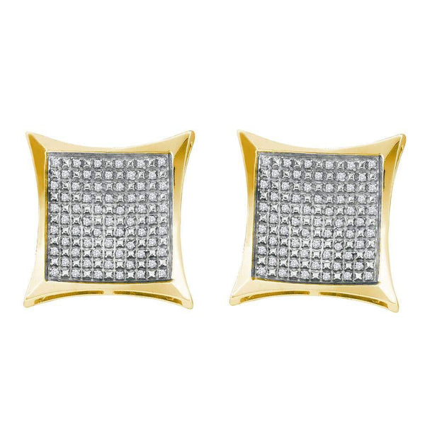 Yellow-tone Sterling Silver Round Diamond Square Kite Cluster Screwback Earrings 1/3 Cttw - Gold Americas