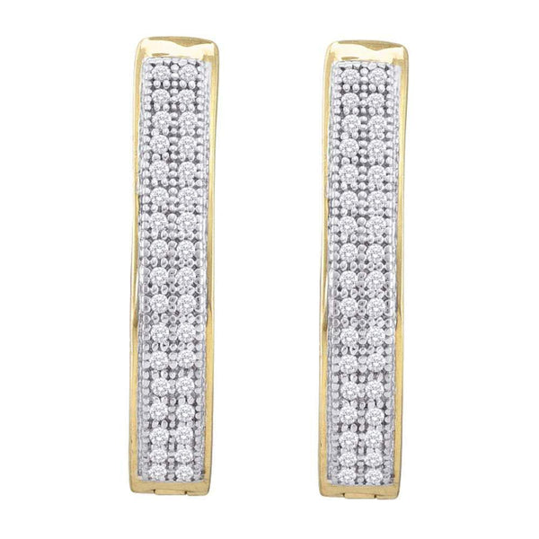 10K Yellow Gold Round Diamond Double Row Hoop Earrings 1/5 Cttw - Gold Americas