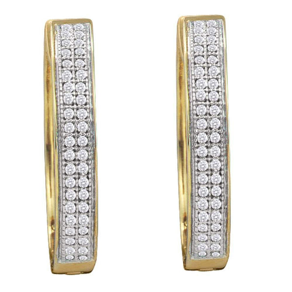 10K Yellow Gold Round Diamond Double Row Pave Hoop Earrings 1/4 Cttw - Gold Americas