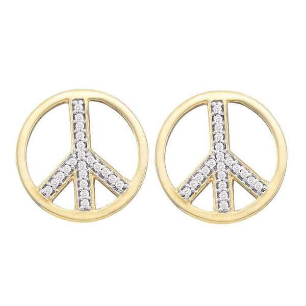 10K Yellow Gold Round Diamond Peace Sign Circle Stud Screwback Earrings 1/6 Cttw - Gold Americas